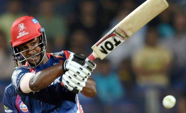 Delhi Daredevils batsman Sanju Samson plays a shot during the IPL T20 match played against Rising ..