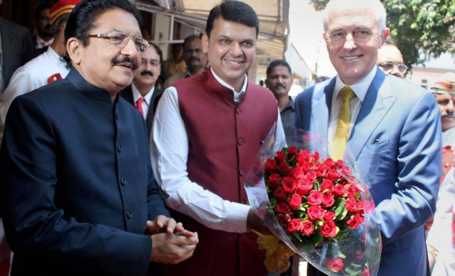 Australian Prime Minister Malcolm Turnbull being greeted by Maharashtra Governor C Vidyasagar Rao...