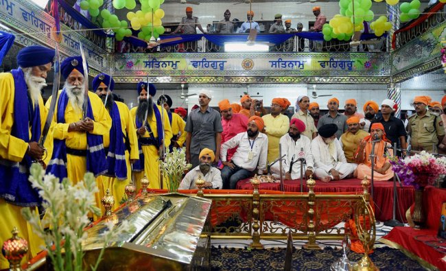 UP Chief Minister Yogi Adityanath during a visit to Gurdwara Sri Guru Teg Bahadur Sahib Ji on the ..