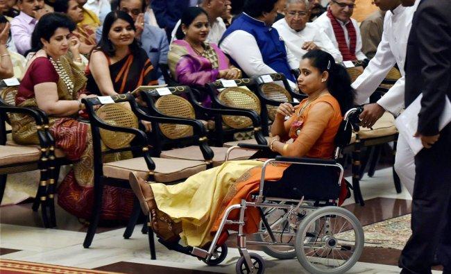 Gymnast Dipa Karmakar after receiving Padma Shri from President Pranab Mukherjee (not in photo) ...