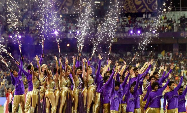 Artists performing during 10th IPL\'s first match at Eden Garden in Kolkata on Thursday...