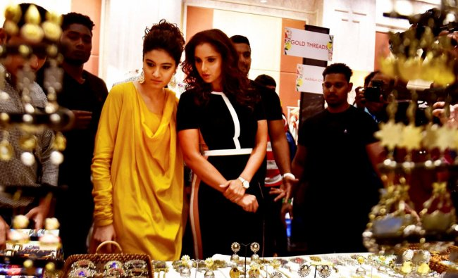 Tennis player Sania Mirza along with her sister Anam Mirza at an event in Chennai...