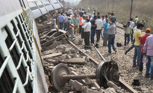 Coaches of the Meerut-Lucknow Rajya Rani Express which derailed near Rura railway station...