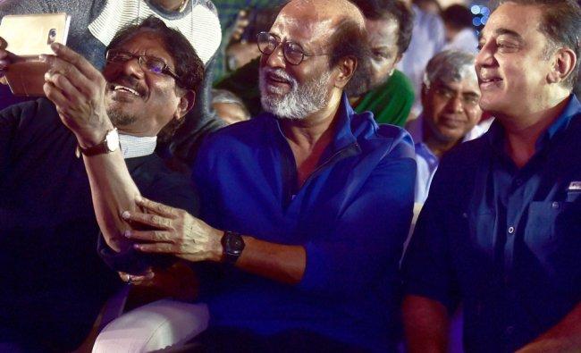Tamil actors Rajinikanth and Kamal Haasan with director Bharati Raja...