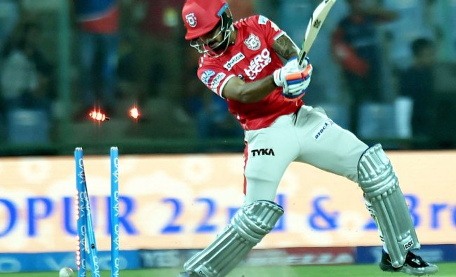 KXIP batsman K C Cariappa being clean bowled by Chris Morris during an IPL match...
