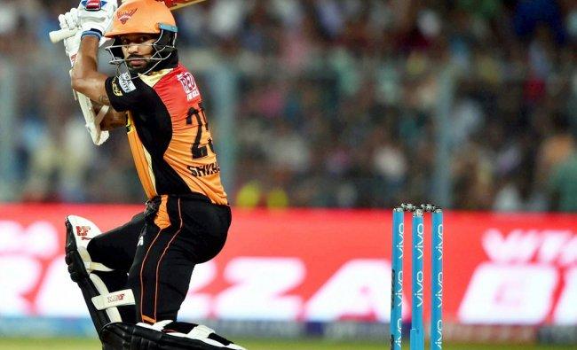 SRH batsman S.Dhawan plays a shot during IPL 2017 Match against KKR in Kolkata on Saturday...