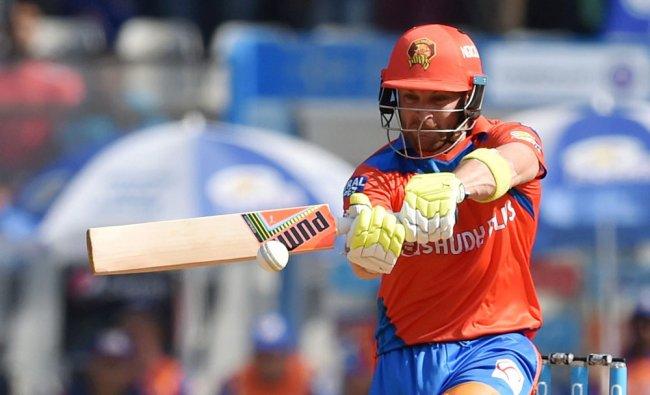 Gujarat Lions batsman McCullum plays a shot during an IPL match against Mumbai Indians, in Mumbai...