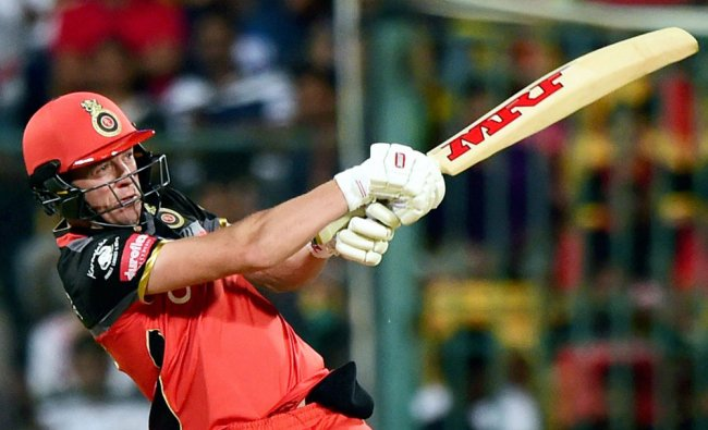 Royal Challengers Bangalore AB De Villiers plays a shot during the match between Royal Challengers..