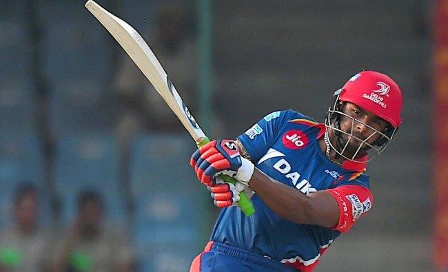 Rishabh Pant plays a shot during the IPL match against Kolkata Knight Riders...