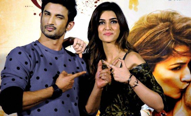 Sushant Singh and Kriti Sanon during the trailer launch of Raabta\'