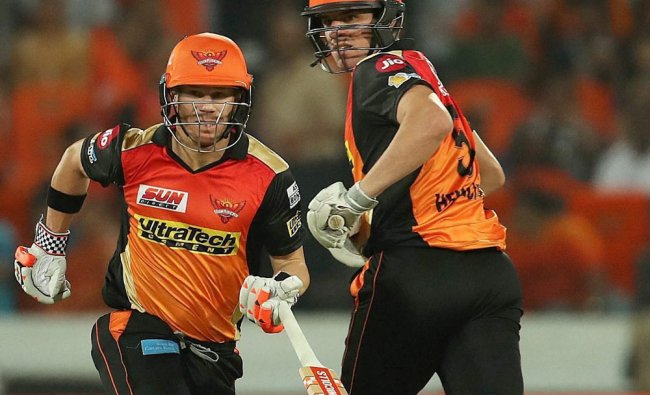 Sunrisers Hyderabad captain David Warner and Moises Henriques