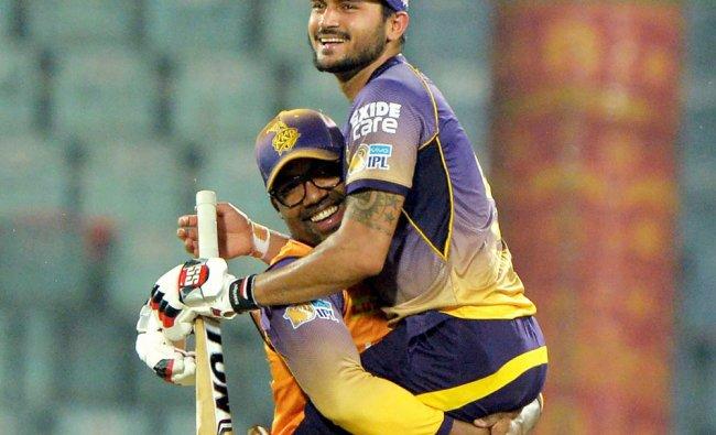 KKR batsman Manish Pandey celebrates after beating Delhi Daredevils