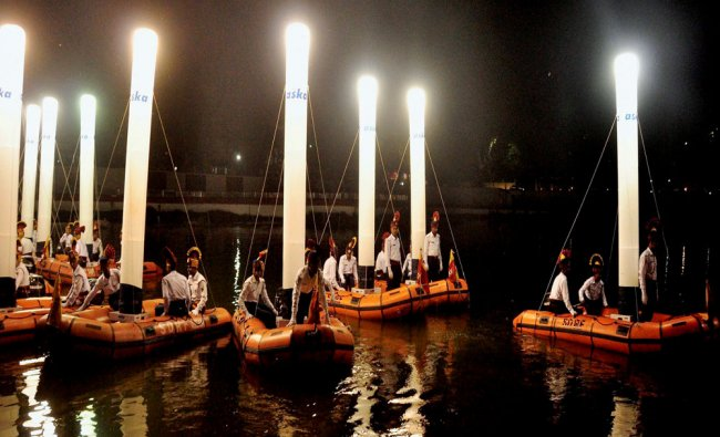 \'Inflatable lights on IR Boats show being conducted by SDRF on the occasion of Fire Services...