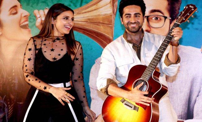 Bollywood Actors Ayushmann Khurrana and Parineeti Chopra during the Song launch...