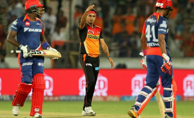 Siddharth Kaul of Sunrisers Hyderabad celebrates wicket of Angelo Mathews of Delhi Daredevils...
