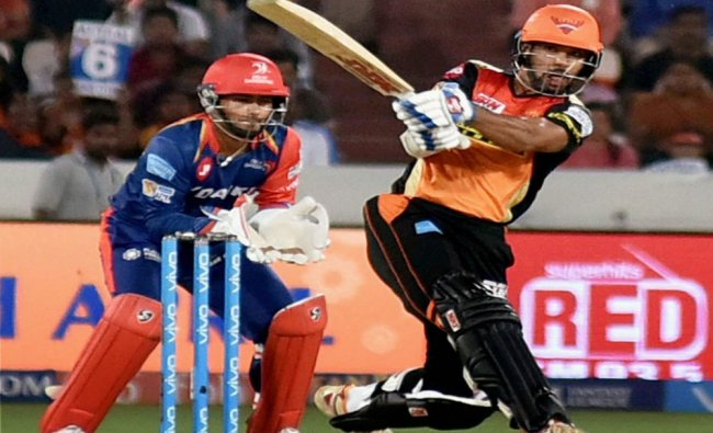 Shikhar Dhawan of SRH plays a shot during the IPL cricket match against Delhi Daredevils...
