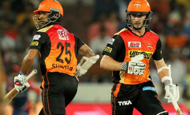 Shikhar Dhawan and Kane Williamson of Sunrisers Hyderabad takes a run during the IPL...
