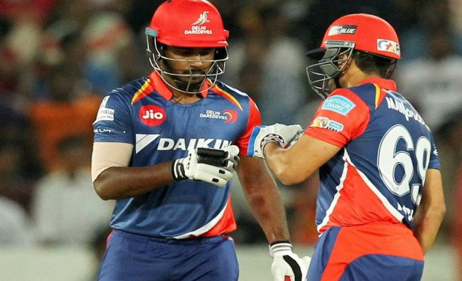 Sanju Samson and Karun Nair of Delhi Daredevils during IPL 2017 match against Sunrisers...