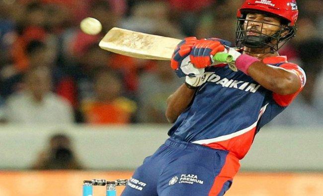 Shreyas Iyer of Delhi Daredevils plays a shot during IPL 2017 match against Sunrisers Hyderabad...