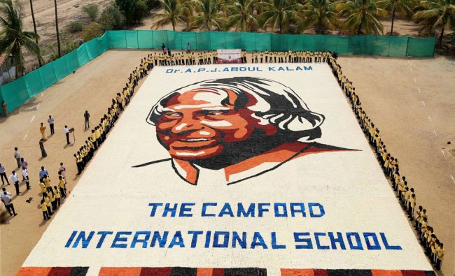 Students of Camford International School used 2,35,000 paper cups on a 981 sq mtr area...