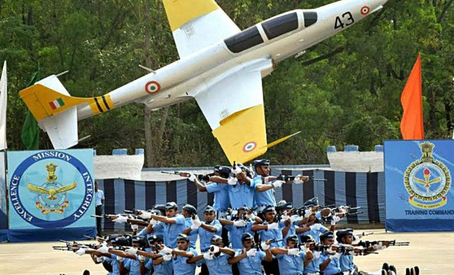 Air Warriors Drill Team of AFS Jalahalli performing during the Passing out Parade at Air Force...