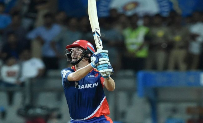 Delhi Daredevilss Morris play a shot during the IPL match against Mumbai Indians in Mumbai...