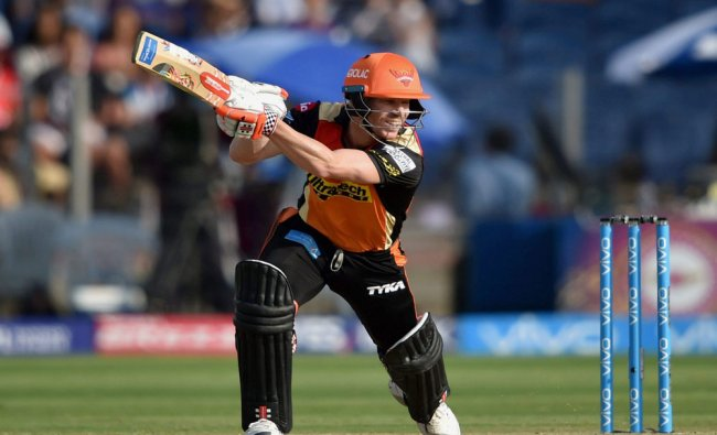 Sunrisers Hyderabads David Warner in action during the IPL match against Rising Pune Supergiants...
