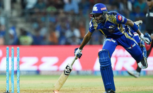 Mumbai Indianss Hardik Pandya gets run out during the IPL match against Delhi Daredevils...