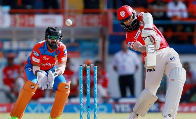 Hasim Amla plays a shot during the IPL 2017 match against Gujarat Lions