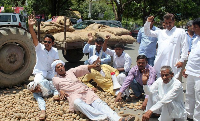 Potato farmers holding a protest over their various demands including proper cold storage ...