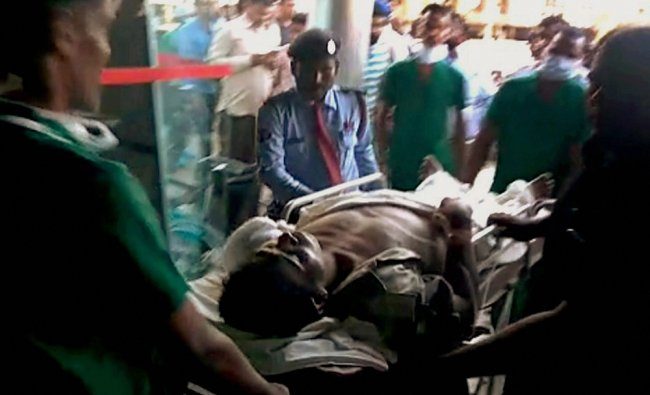 Injured CRPF being brought to Raipur for treatment on Monday follwing a Maoist attack at Burkapal ..