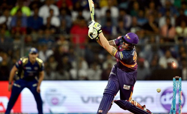 Rising Pune Supergiants Ben Stokes gets clean bowled during the IPL match against Mumbai Indians...