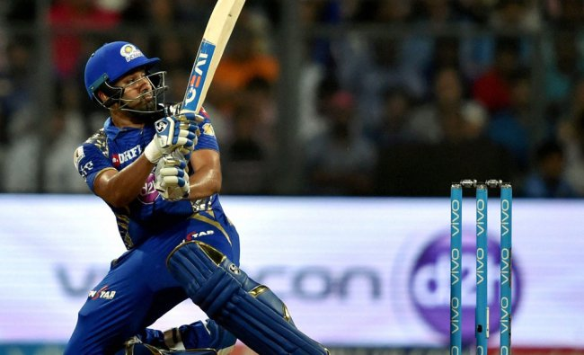 Mumbai Indians Rohit Sharma in action during the IPL match against Rising Pune Supergiants...