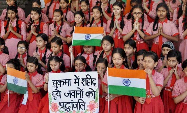 School children pay tribute to CRPF jawans killed in the naxal attack in Chhattisgarh\'s Sukma ...
