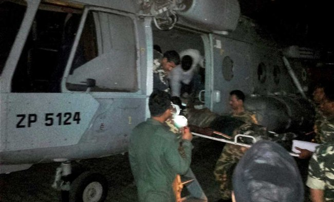 Injured CRPF jawans being airlifted to Raipur by an IAF chopper for treatment on Monday follwing ...