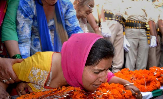 Wife of of CRPF martyr Surender Thakur, who was killed in Naxal attack in Sukma chhattisgarh ...