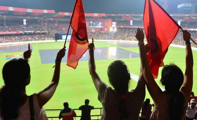 Pich and grounds covers due to the rain before the RCB V/S SRH IPL match at Chinnaswamy stadium in..
