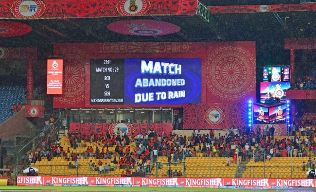 Match abandoned board displayed due to rain during the 2017 Indian Premier League (IPL) Twenty20 ...