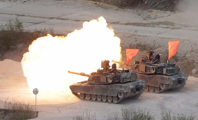 U.S. Army\'s M1 A2 tanks fire during the South Korea-U.S. joint military live-fire drills...