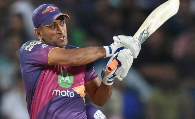 Rising Pune Supergiants MS Dhoni in action during the IPL match against Kolkata Knight Riders...