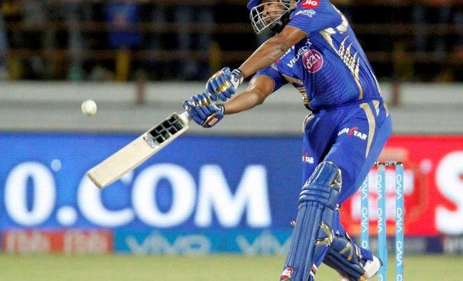 Mumbai Indians batsman Kiaron pollard play shot during the IPL T 20 match against Gujarat Lions...