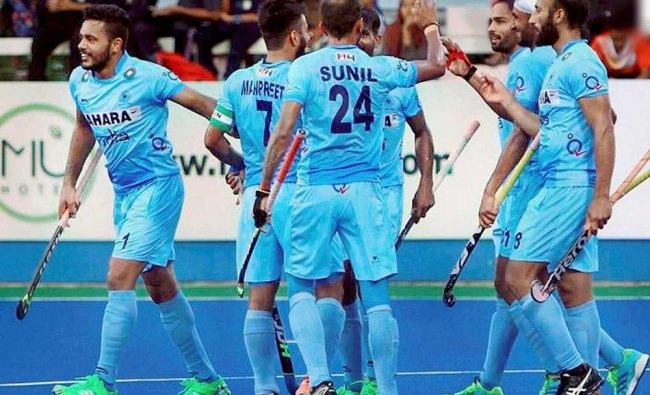 Indian team celebrates their win over New Zealand in their second match at the 26th Sultan Azlan...