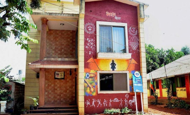 A decorated home at Bhilar village, India\'s first \'village of books\' where Around 15,000 books...