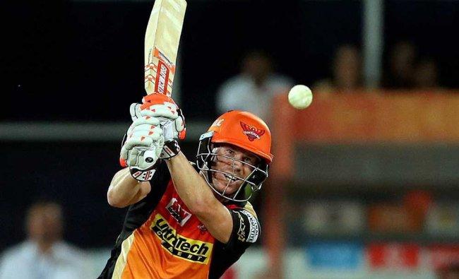 Sunrisers Hyderabad captain David Warner plays a shot during their IPL match against KKR...