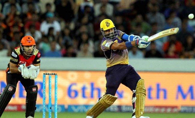 Robin Uthappa of Kolkata Knight Riders plays a shot against Sunrisers Hyderabad during their IPL...