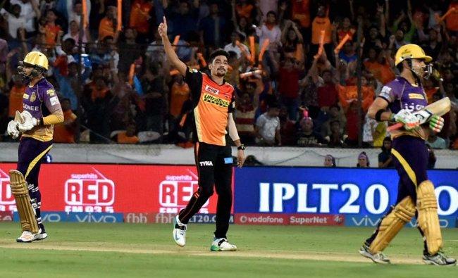 Mohammad Siraj of Sunrisers Hyderabad celebrates wicket of Sunil Narine of Kolkata Knight Riders...