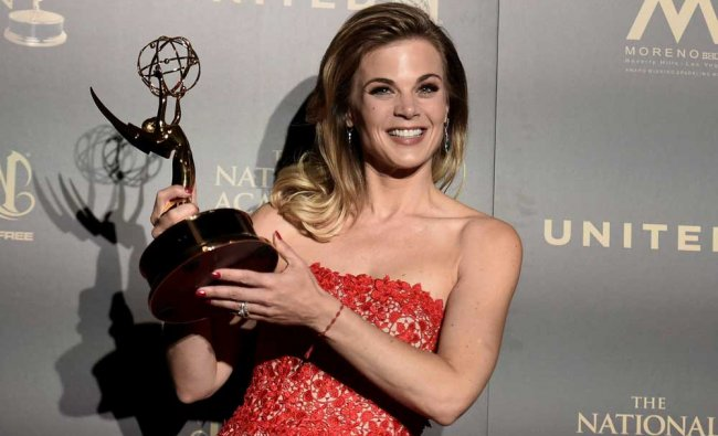 Gina Tognoni, winner of the award for outstanding lead actress in a drama series for \'The Young...
