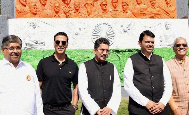 Maharashtra Chief Minister Devendra Fadnavis, State Revenue and PWD Minister Chandrakant Patil...