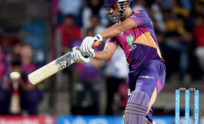 Rising Pune Supergiants batsman M.S.Dhoni plays a shot during the IPL T20 match played against GI...