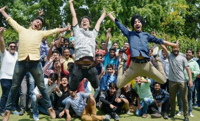 Students celebrate their success after CBSE class...